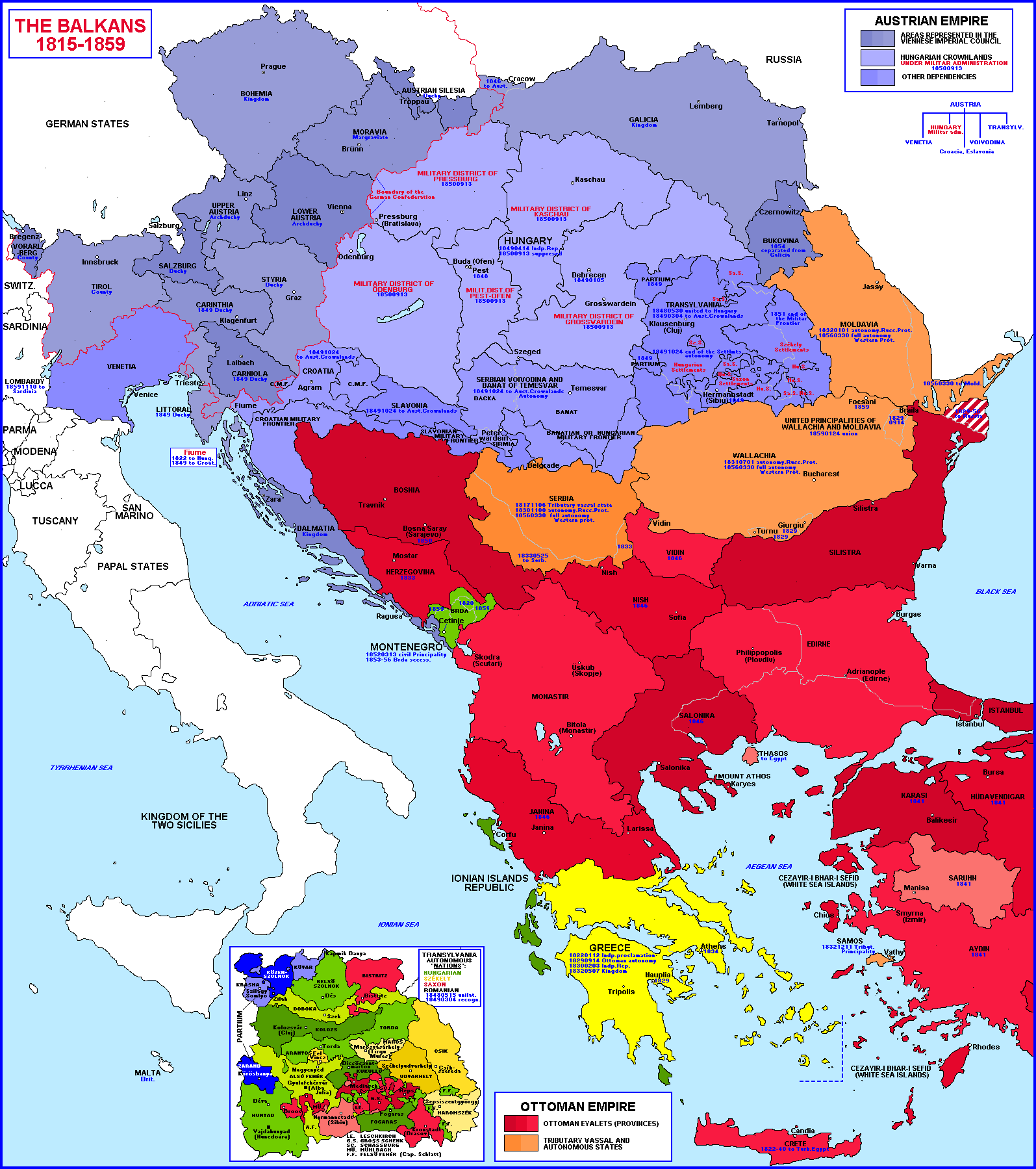 balkans historical map 1815 1859 balkans maps european historyworld