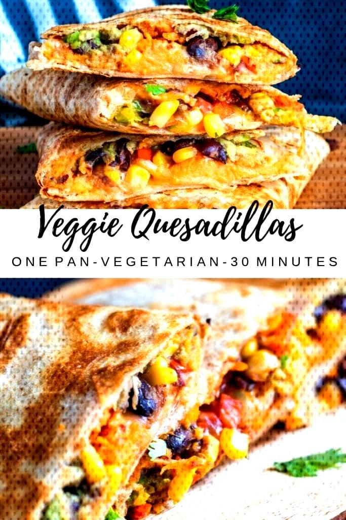 These Vegetarian Quesadillas are the perfect quick 30 minute, one pan dinner or lunch recipe. Fille