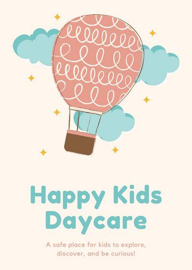 Cream Hot Air Balloon Daycare Flyer  In Home Daycare