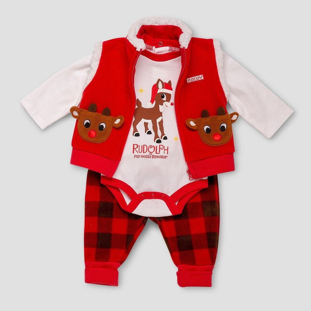 b8bf3dbb663f Baby Girls  Rudolph the Red-Nosed Reindeer Baby 3pc Vest Set - Red ...
