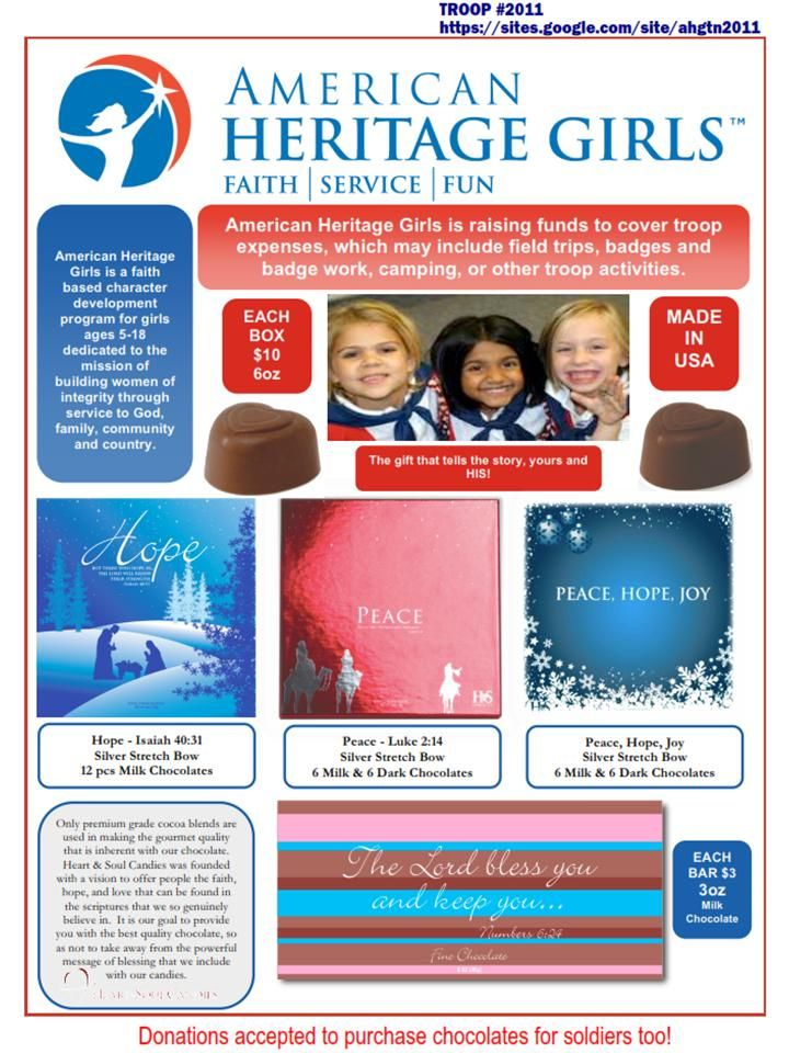 Help support my girls with american heritage girls in