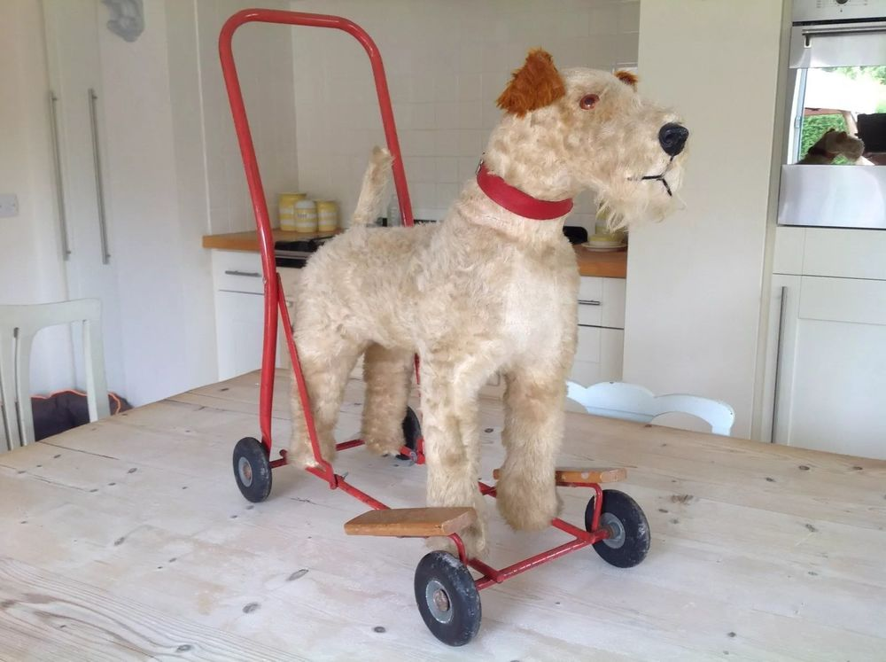 Vintage Dog On Wheels Fox Terrier Push Along Ride On Toy Dog Baby