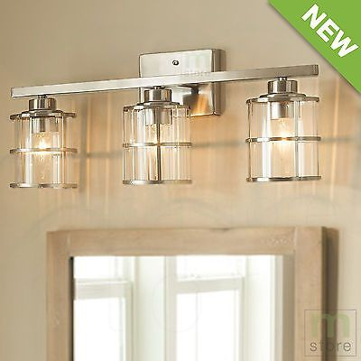 Bathroom vanity 3 light led fixture chrome cage wall lighting over bathroom vanity 3 light led fixture chrome cage wall lighting over mirror lamps ebay aloadofball Choice Image