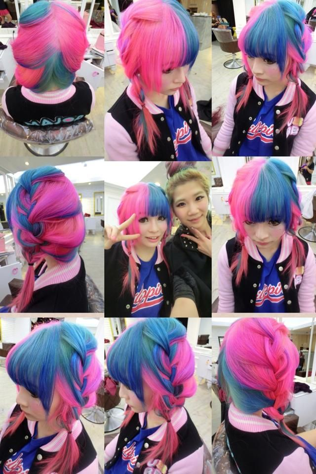 half pink half blue pigtail braids