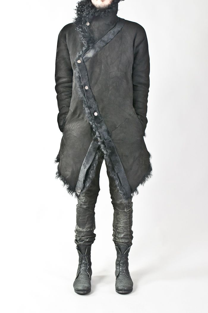 oiled & crushed reversible merino shearling coat — re. porter
