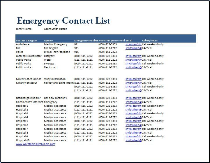 Emergency Contact List Template at wordtemplatesbundle - contact list