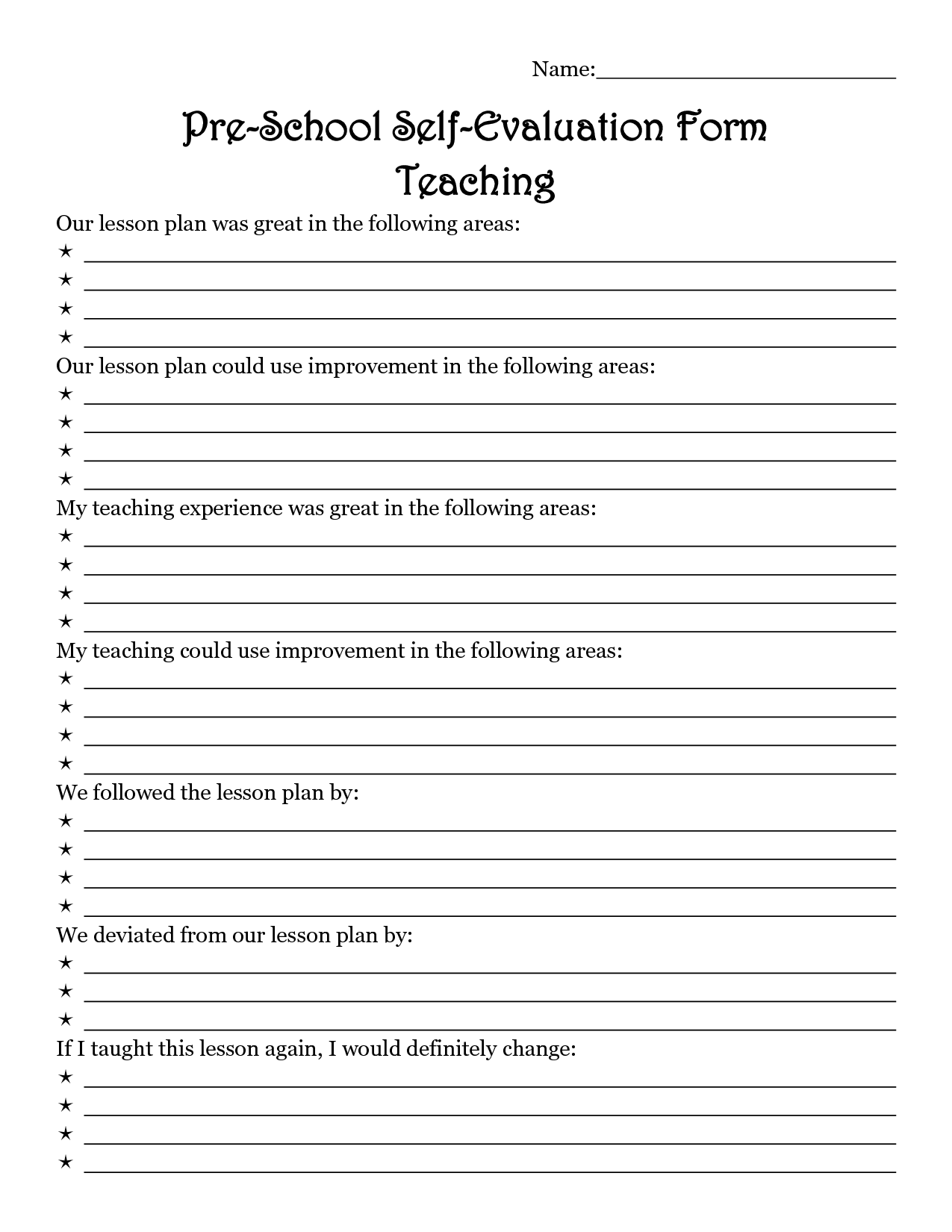 Teacher Evaluation Worksheet