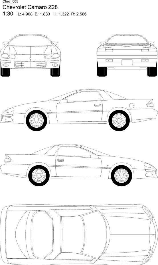 Chevrolet Camaro Z28 blueprint garage candy Car sketch