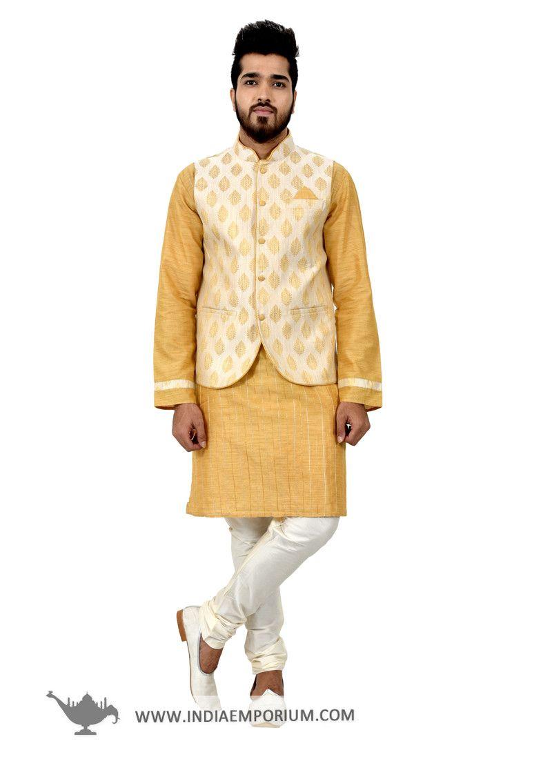 42b5401d6b0 Enticing Golden   White  Kurta  Pyjama in Cotton Silk with Ivory  Nehru   Jacket