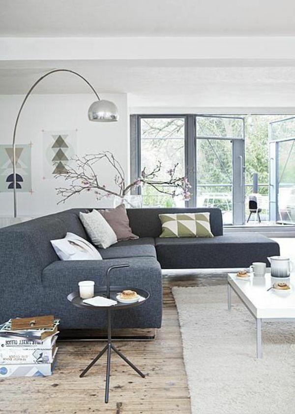wohnzimmer skandinavisch einrichten stehlampen Wohnzimmer - grau braun einrichten penthouse