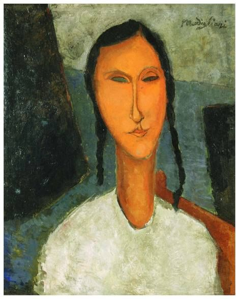 Amedeo Modigliani, Jeune fille aux yeux bleus (Young Girl with Braids)
