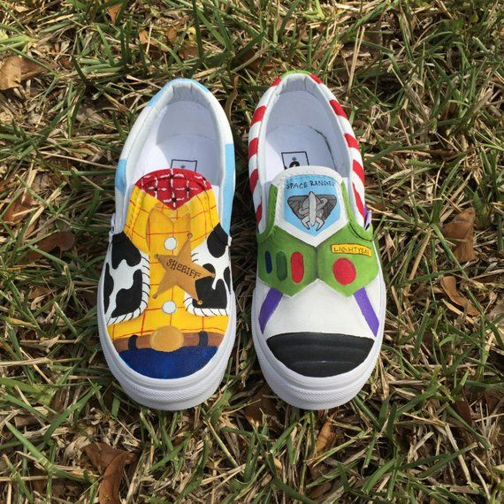 382f71a8963f5 Hand Painted Woody and Buzz Lightyear inspired canvas shoes- made to ...