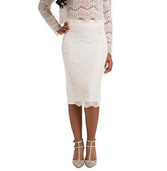 Standard & Practices Tori Lace and Ponte Long Skirt