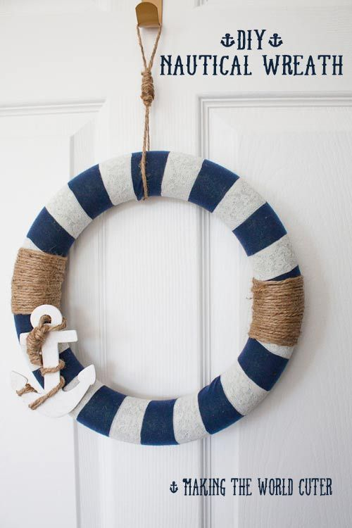 Nautical Decor How To Make This Navy And White Wreath With Images