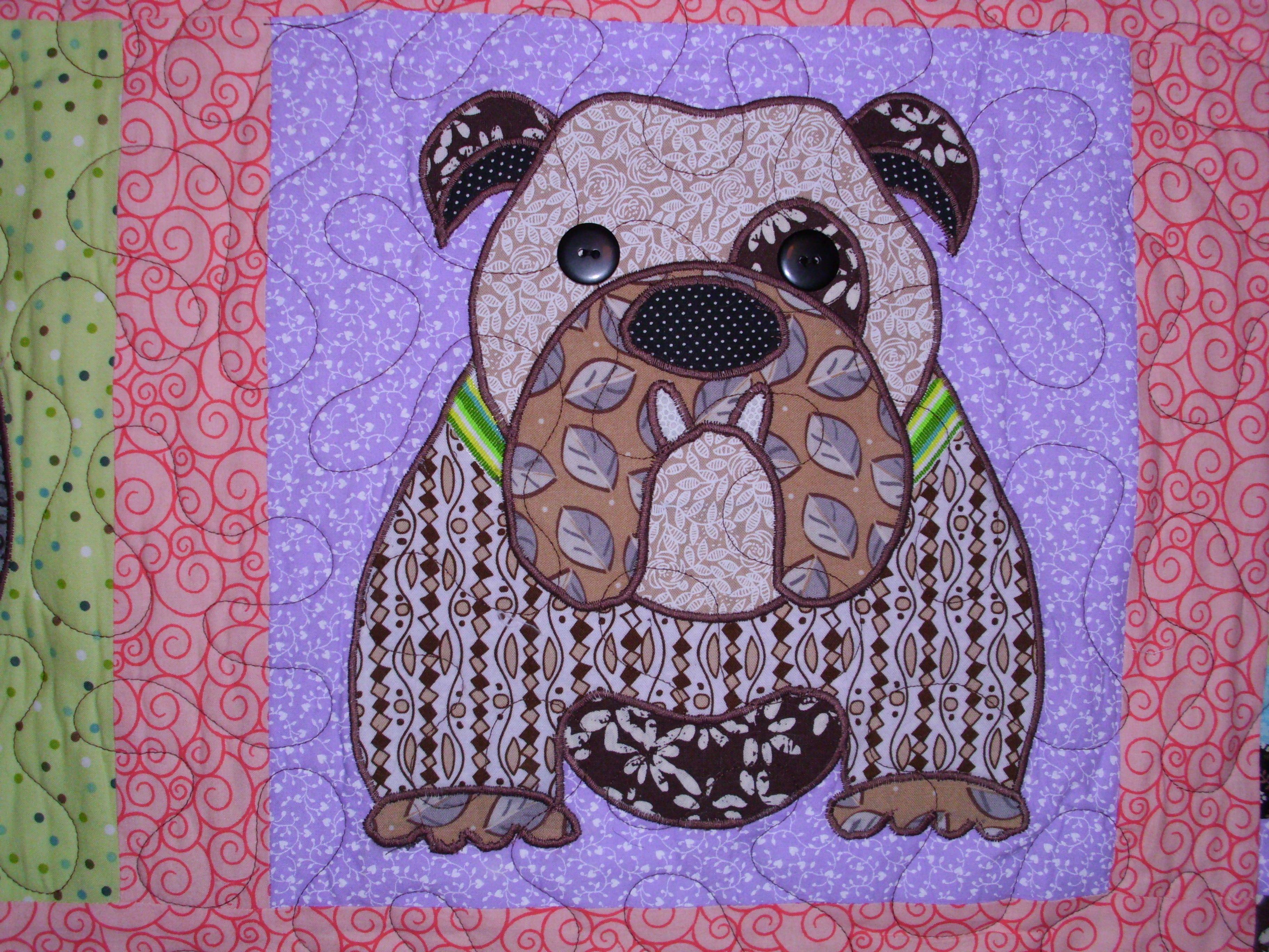 Close up of a vinney bulldog quilt blocks bulldog