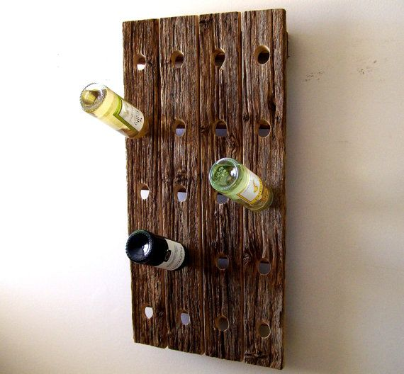 Reclaimed Wood Wine Rack - Barn Wood - Riddling Rack - Wooden Wine Rack Wall Mounted Wooden Wine Racks Pictured Left