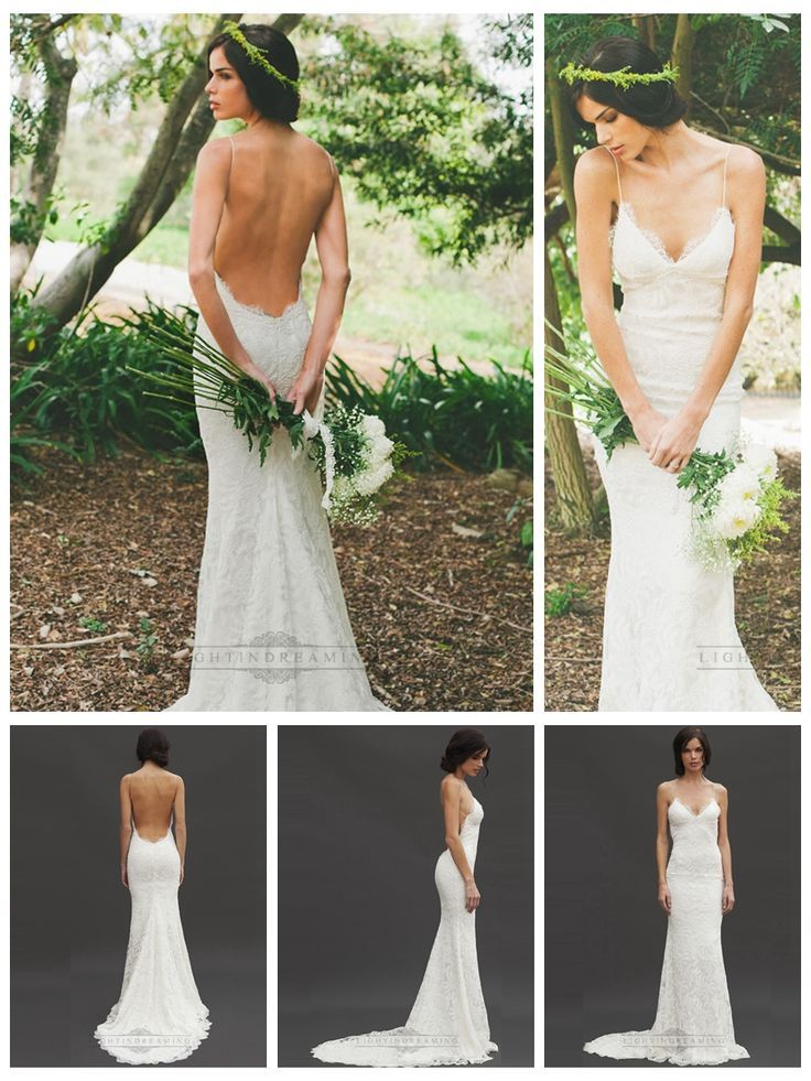 Spaghetti Straps Plunging V Neck Low Backless Lace Wedding Dresses