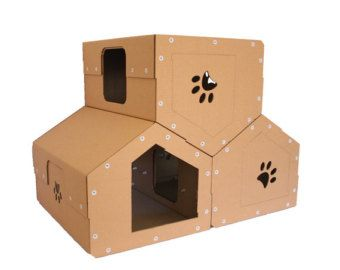 Karton Katze Penthouse, Moderne Kratzbaum, Katzenmöbel, Katzenspielzeug,  Cat Cave, Haustier Haus