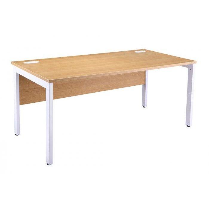 Light Oak Rectangular Bench Desk With White Legs