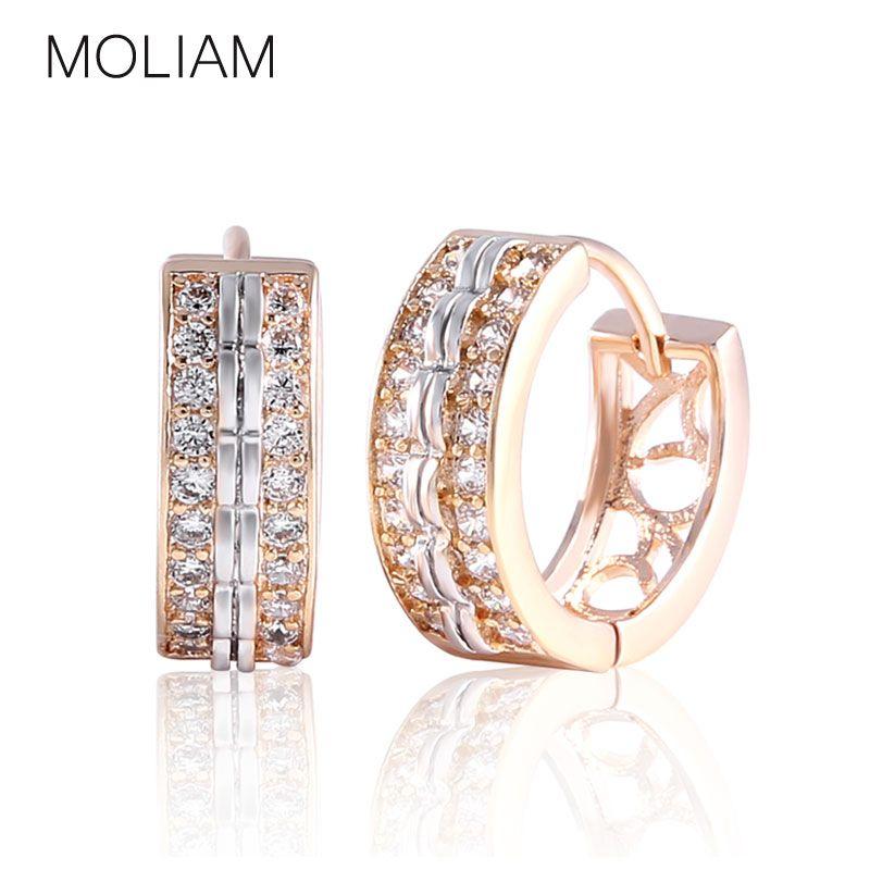 MOLIAM 패션 보석 Huggie 이어링 화이트 AAA 큐빅 지르코니아 후프 Earings 디자인 웨딩 귀걸이 Brinco 비쥬 E151