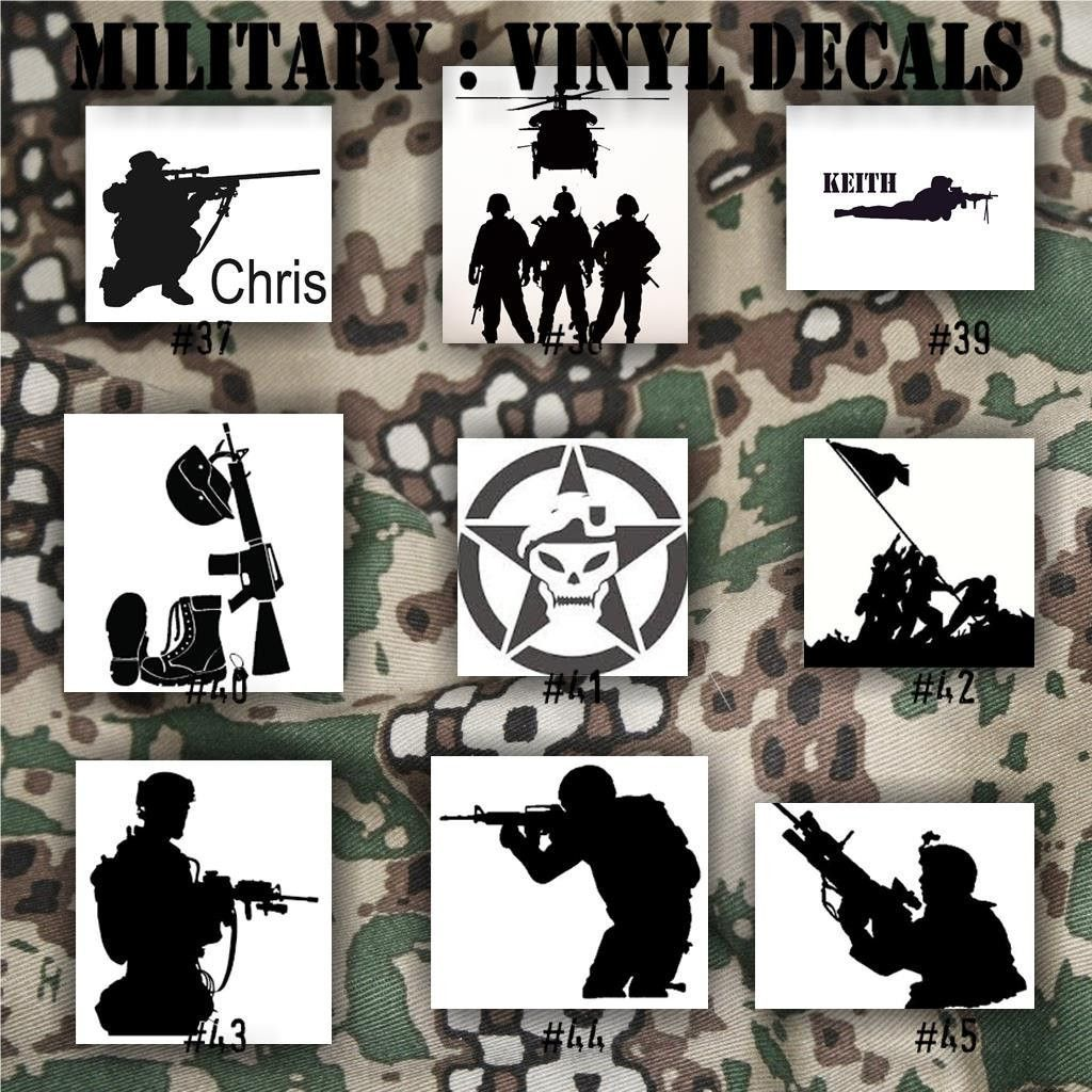 MILITARY vinyl decals 3745 Army, Air Force, Navy and