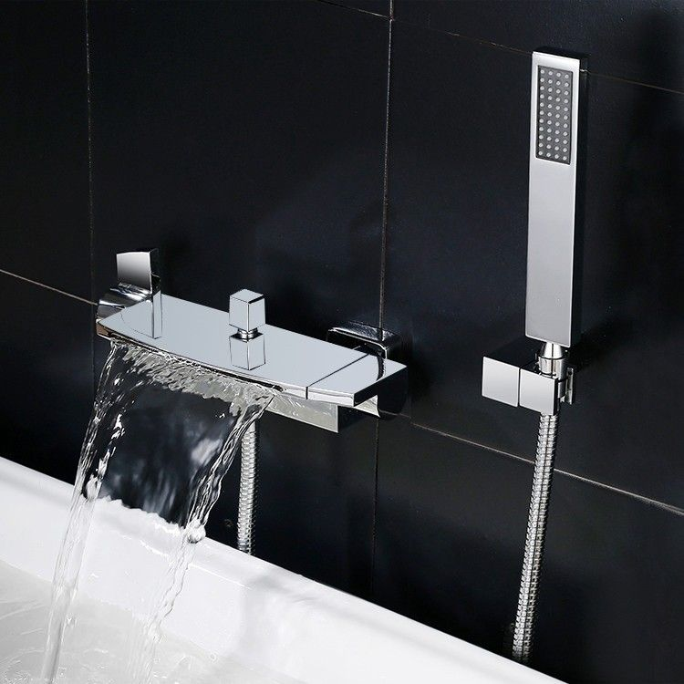 Wall Mount Bath Tub Filler Faucet Set Waterfall Bath And Shower