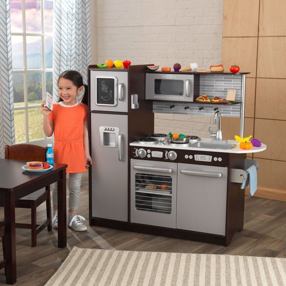 30pc espresso kitchen set kids food cooking pretend play toy wood gift girl boy 30pcespressokitchenset