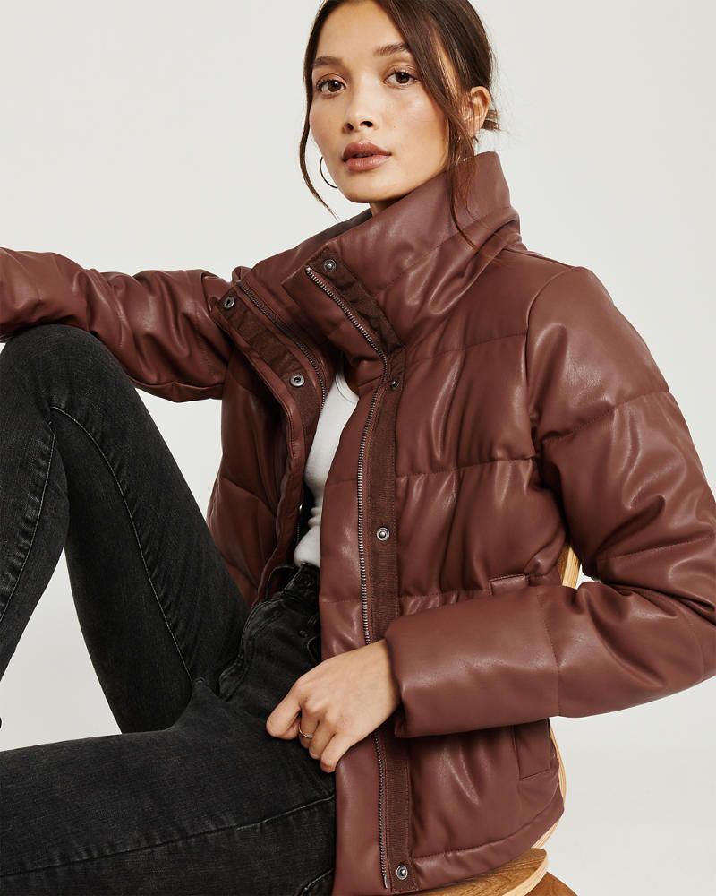 Womens Mini Faux Leather Puffer Jacket Womens Jackets Coats Abercrombie Com Jackets Puffer Jacket Outfit Puffer Jackets