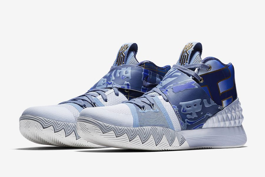 """Nike Kyrie S1 Hybrid """"What The"""" AJ5165-902 Blue Gold White For Sale"""