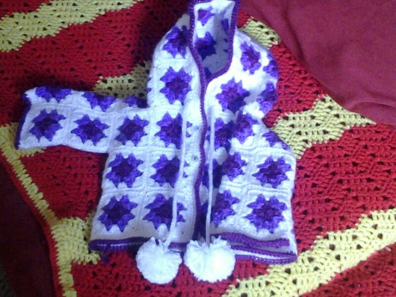 granny square baby jacket all done