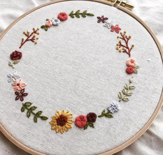Cute Floral Wreath Hand Embroidery Pattern Pdf Download Etsy Embroidery Flowers Pattern Embroidery Patterns Vintage Hand Embroidery Pattern