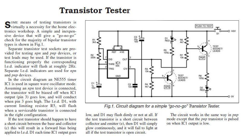 Transistor Tester | Circuit diagram, Transistors ...