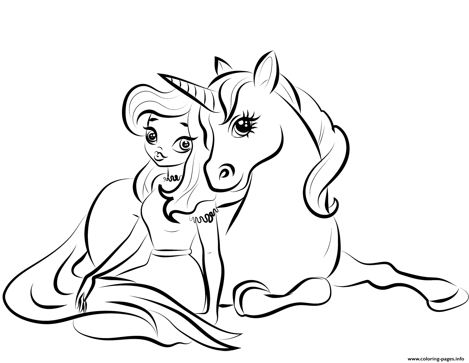 Print princess with unicorn 2 coloring pages in 2020