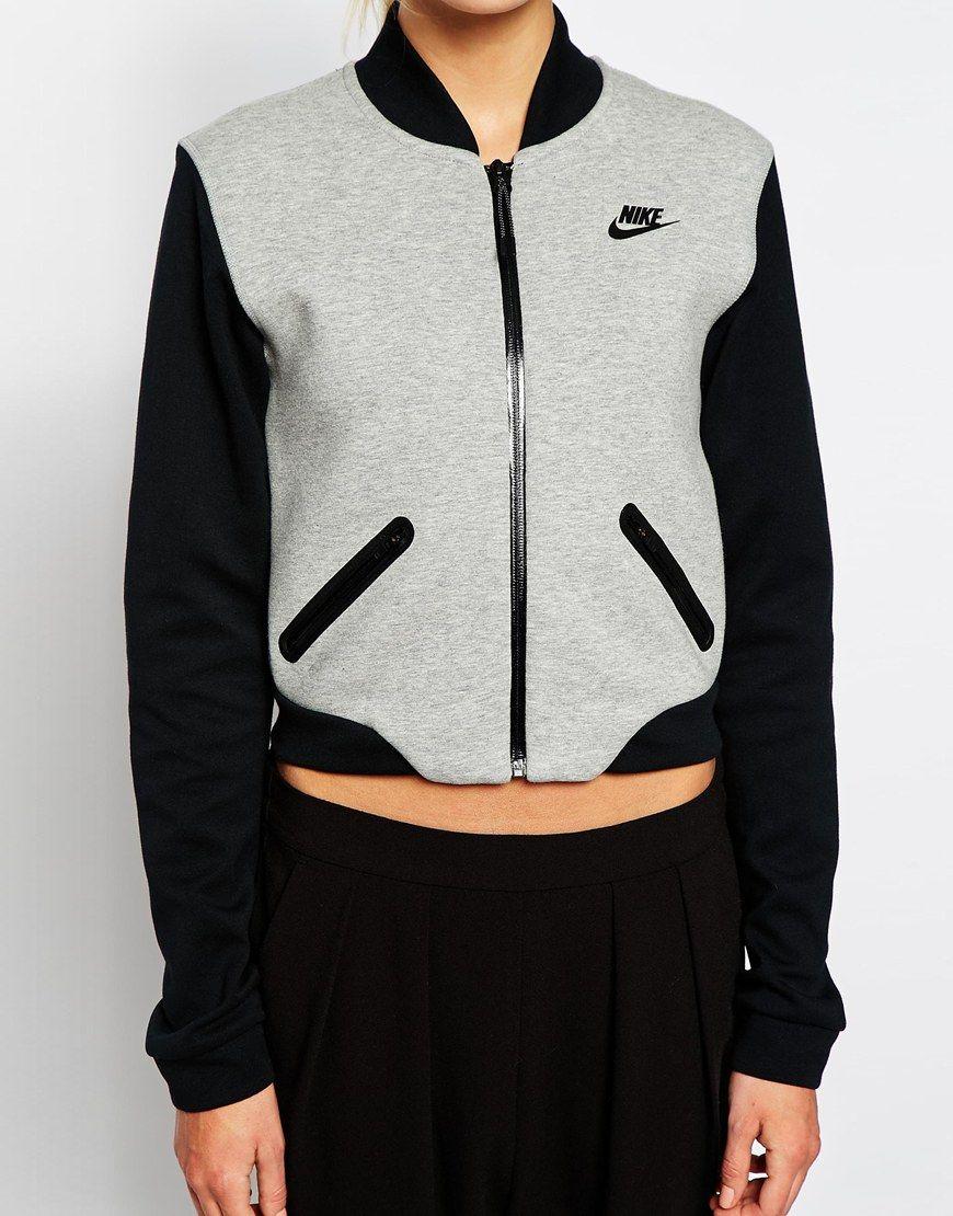 Nike jacket gray and black - Nike Luxury Fleece Bomber Jacket At Asos Com