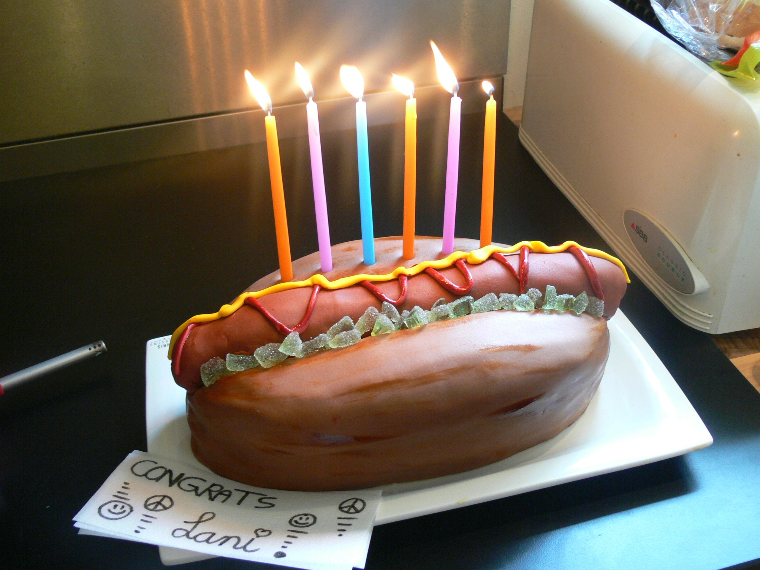 Birthday Cake Picture With Hot Dog
