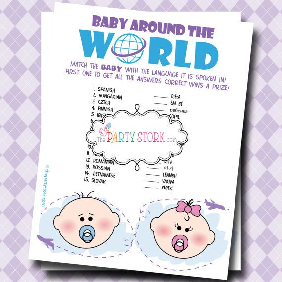 Digital INSTANT DOWNLOAD Baby Shower Games: Printable Baby Around The World  With Languages Game,
