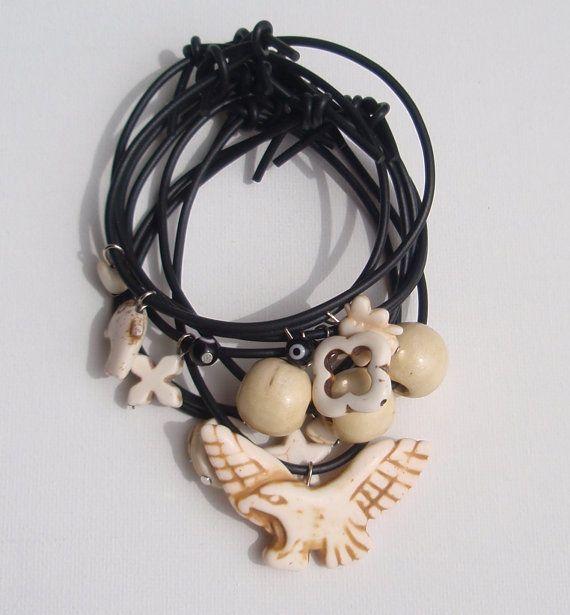 Charm bracelets set black and white by insou on Etsy, $15.30