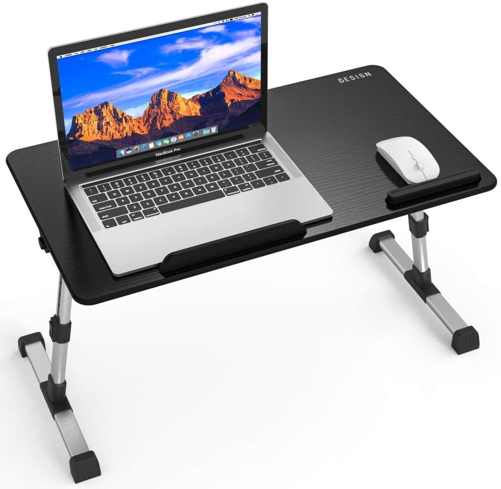 Portable Folding Laptop Desk Large Bamboo Lapdesks Table Stand Lap Standing Desk Adjustable Height Tray Multi Tasking Stand Breakfast Serving Support Notebook Sofa Couch Bed Table Tray with Drawer