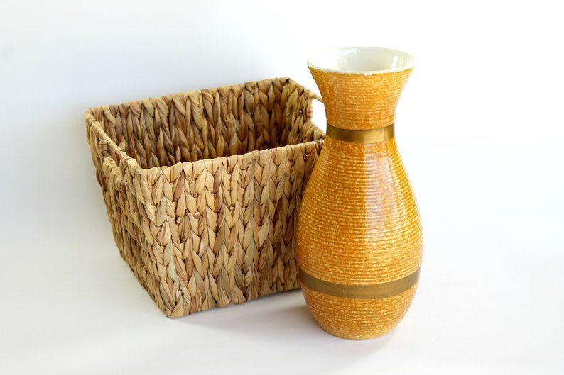 Vintage Hull Art Pottery Vase Gold Metal Ware Mid Century