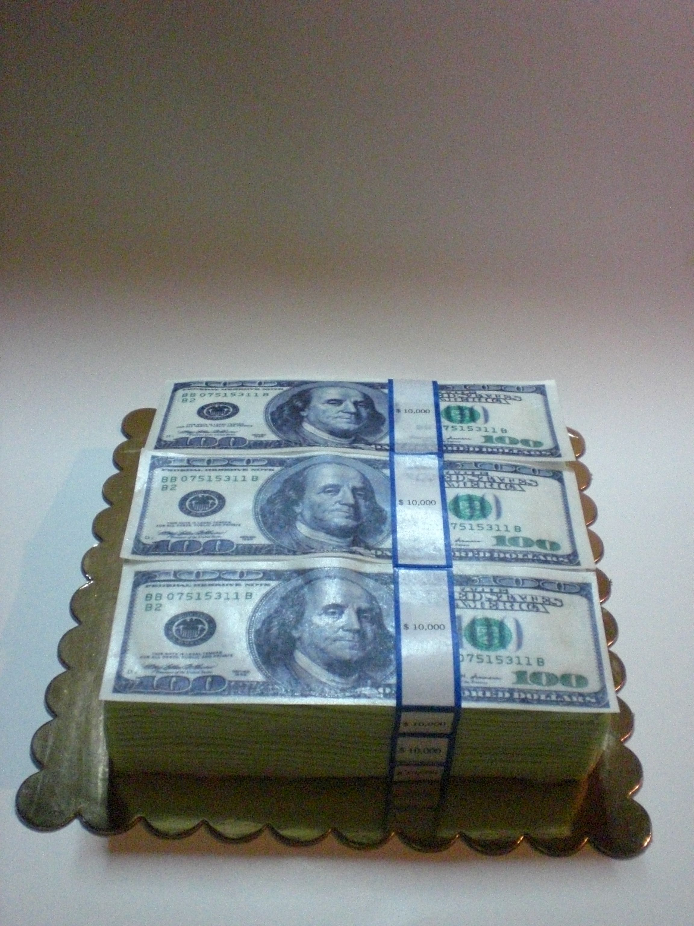 Million dollar cake with edible ink Benjamins    My