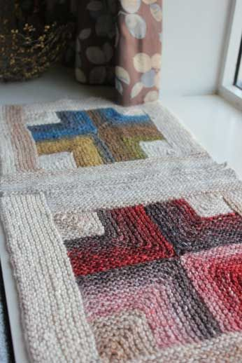 Mitered Crosses Blanket, knitting pattern to make with Noro yarn, from Mason-Dixon Knitting. Proceeds from pattern sales got to Japan relief.
