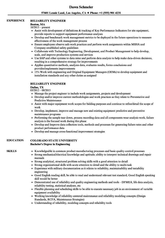 Reliability Engineer Resume Samples Velvet Jobs Inside Reliability Report Template Resume Resume Examples Engineering Resume