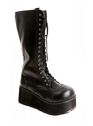 Demonia By Pleaser Black Patent Lace And Zip Boots, BLACK