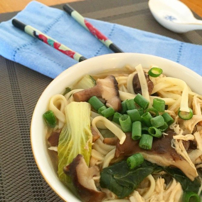 This hearty Asian noodle soup with chicken, bok choyand shiitake mushrooms is a quick, easy and healthy dinner recipe that is ready in 30 minutes.