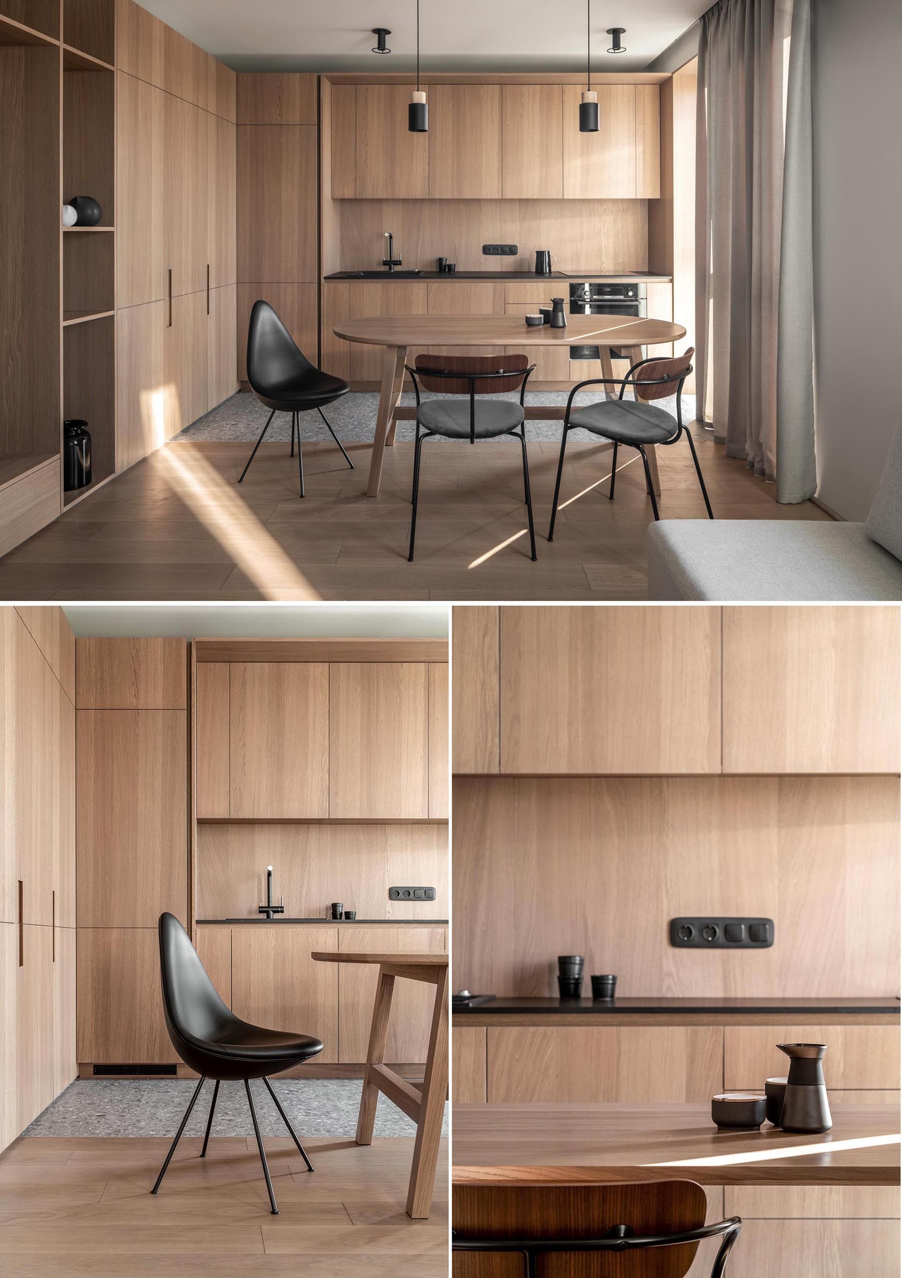 Wood Cabinets Without Hardware Are A Consistent Feature Throughout This Apartment In 2020 Wood Cabinets Modern Wood Kitchen Wood Bedside Table
