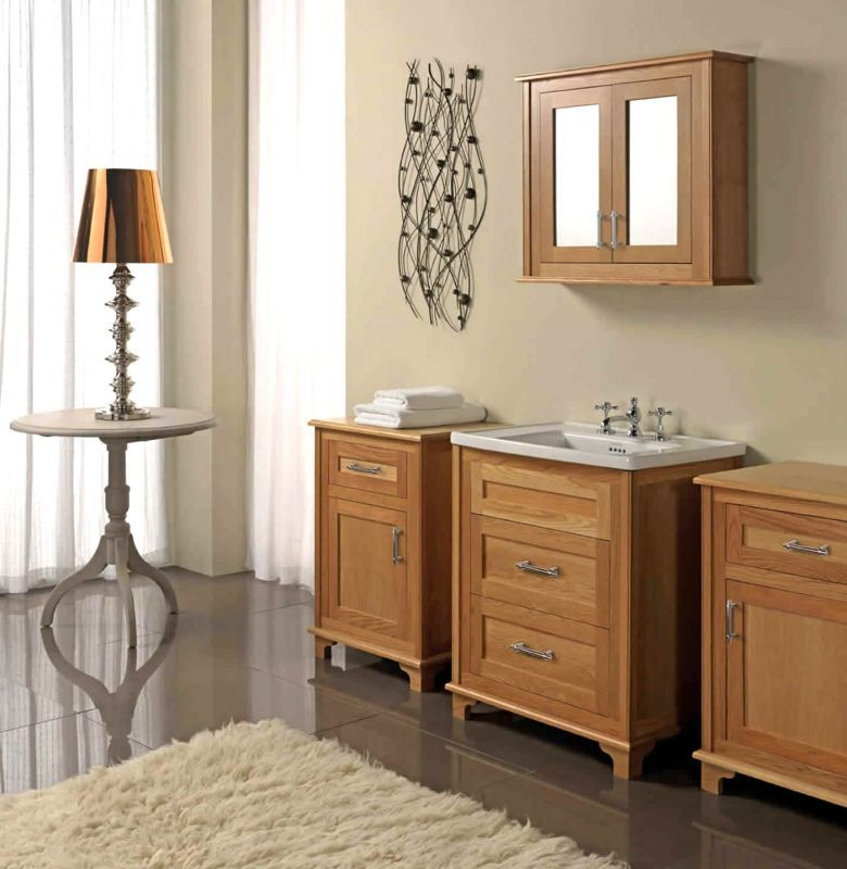 Natural Oak Imperial Thurlestone 2 Drawer Vanity Unit Basin