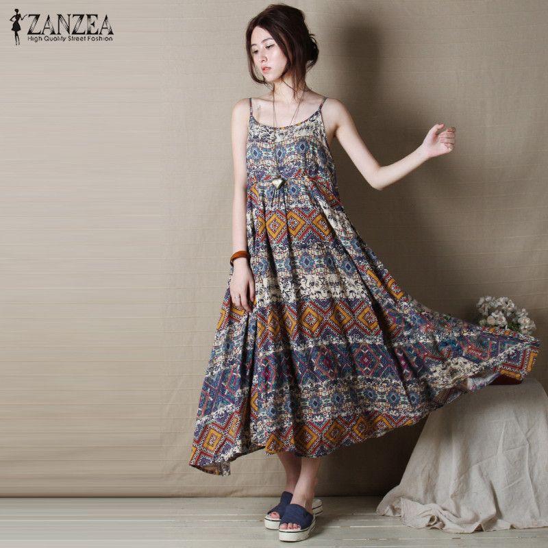 cd359174a20 Boho Maxi Dress - Vintage Bohemian Style Loose Casual Sleeveless Dress -  Green Girl Style