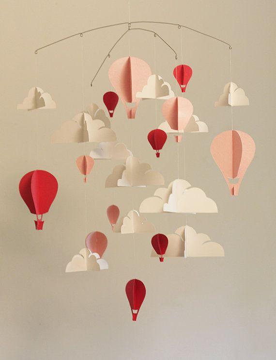 CLASSIQUE rose grand Hot Air Balloon papier bébé Mobile | Patchworks ...