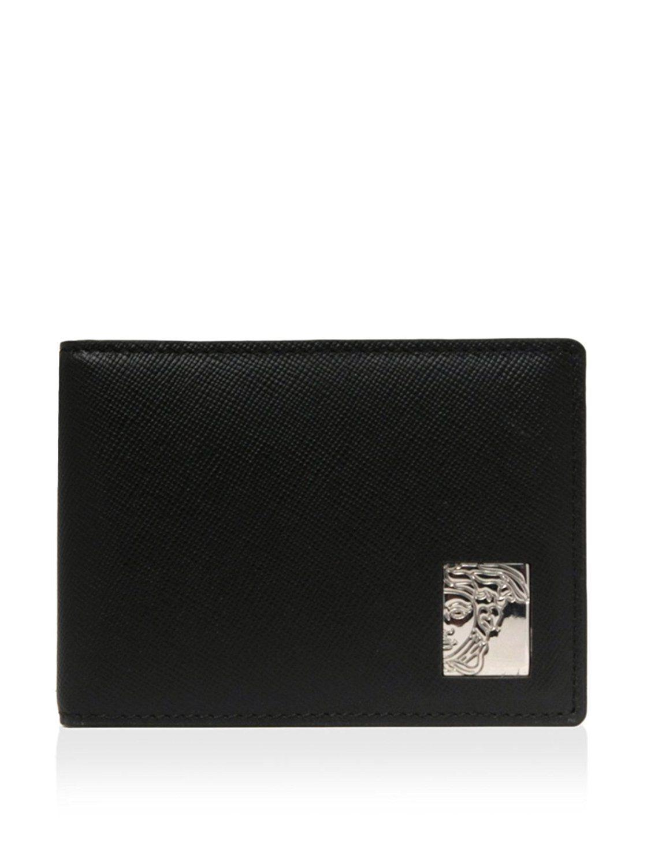 a496618087c43 VERSACE COLLECTION Black Saffiano Leather Medusa Logo Bifold Wallet ...