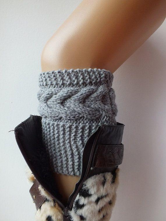 Hand  Knit  Boot Cuffs, Boot Toppers, Leg Warmers Beige, Gray , Dark Gray